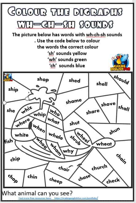 Colour the digraph Phonics worksheets Wh Ch sh