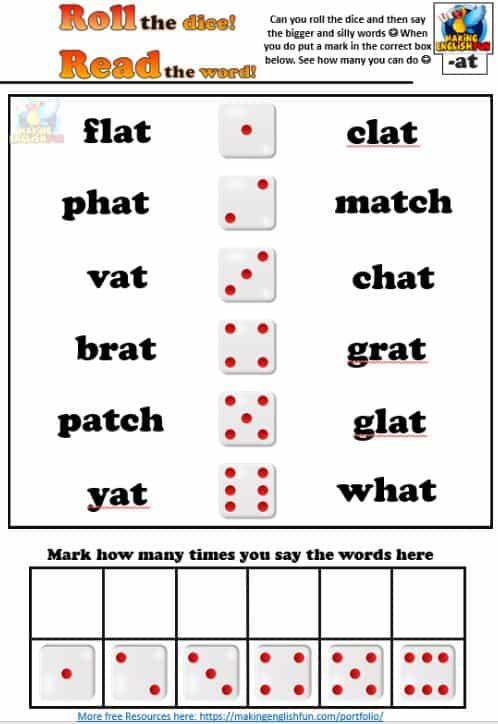Short Vowel a Phonics Roll the dice activity