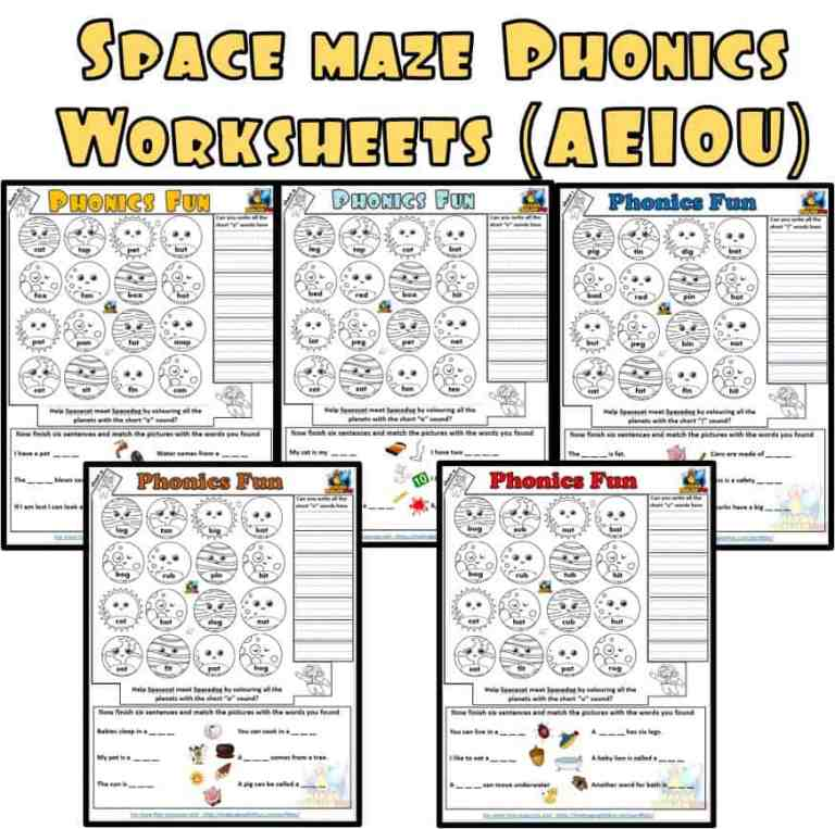 Space Maze Phonics Worksheets (AEIOU)