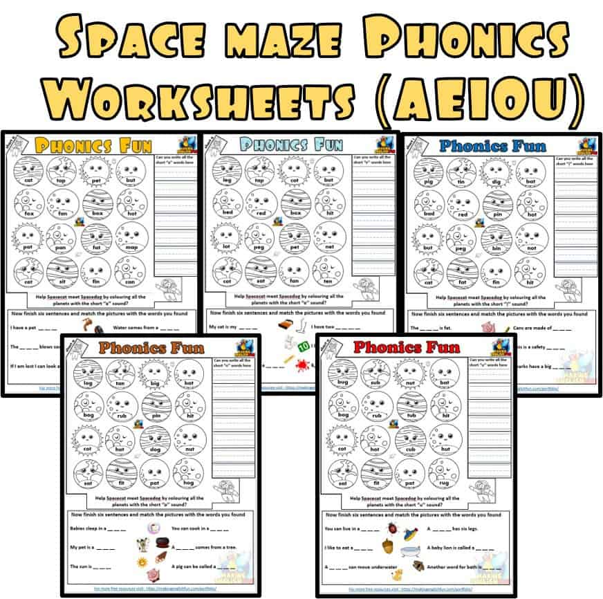 Space Maze Phonics Worksheets Aeiou Making English Fun