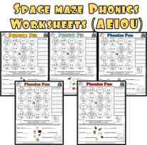 Short Vowel maze Phonics Worksheet Set