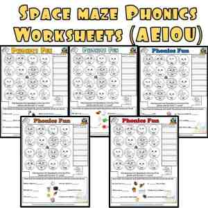Short Vowel maze Phonics Worksheet Set