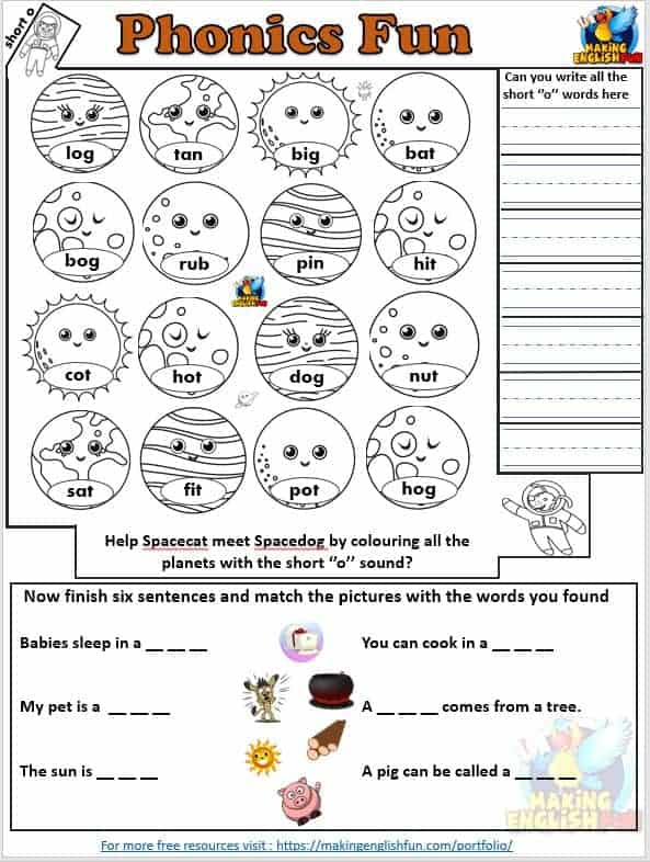 Phonics Maze Short vowel I Worksheet space theme