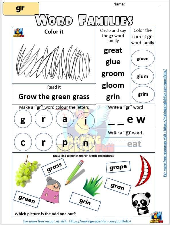 GR Consonant Blend worksheet