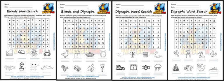 FREE Phonics Digraph and Blends word Search / Worksheets.
