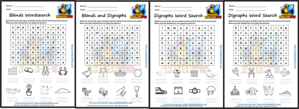 Digraph and Blend wordsearch