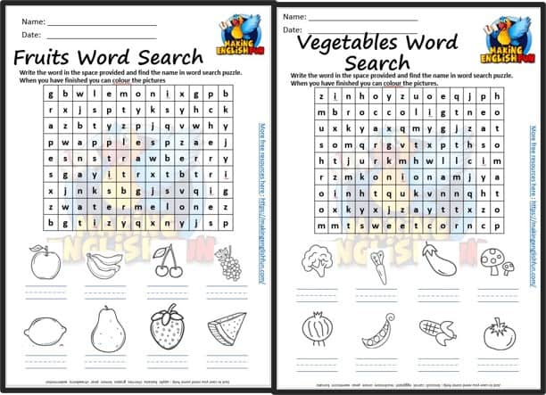 Free Food (Fruit and Vegetables) Colouring Word Search.