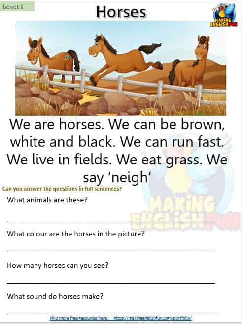 FREE Kindergarten reading comprehension worksheets