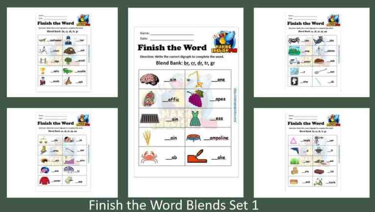 Free Consonant Blends FInish the word Worksheets