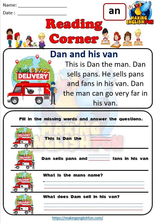 Kindergarten Reading Cards
