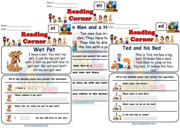 FREE sHort E CVC Reading Worksheets