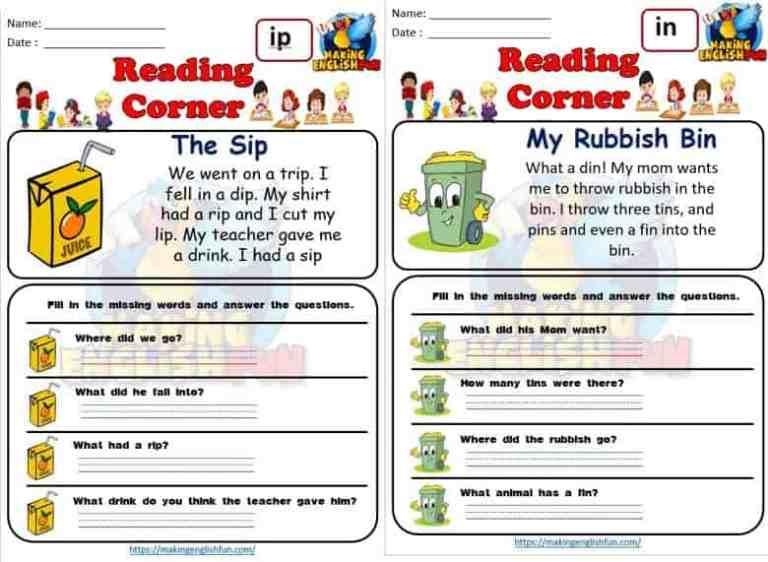 FREE CVC READING CARDS – SHORT VOWEL I