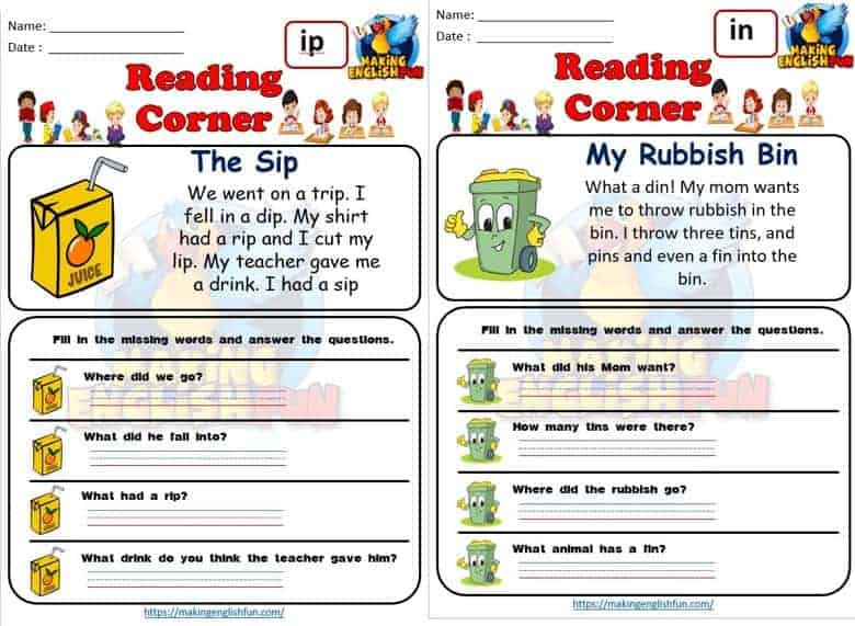 FREE CVC Reading Comprehension