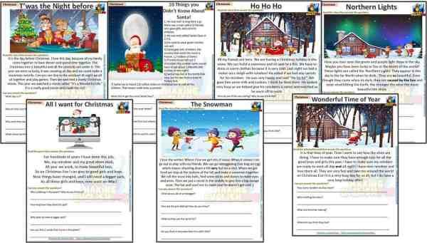 Christmas Reading Comprehension Worksheets
