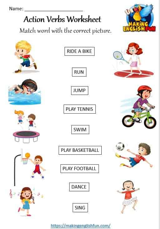 13 Action Verb Worksheets - Making English Fun