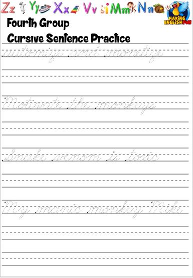 cursive handwriting page
