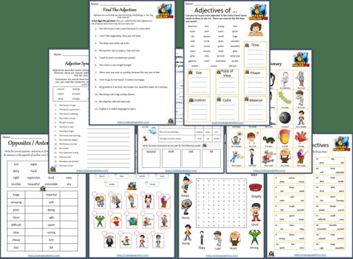 Adjective worksheets pdf