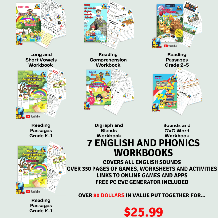 Phonics workbook for kindergarten