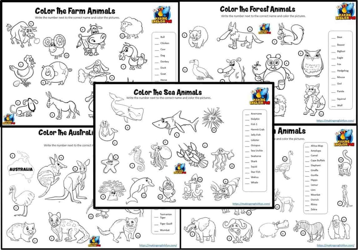 Animals Color and Match Worksheets
