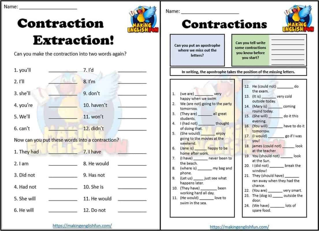 FREE FREE Contractions worksheets