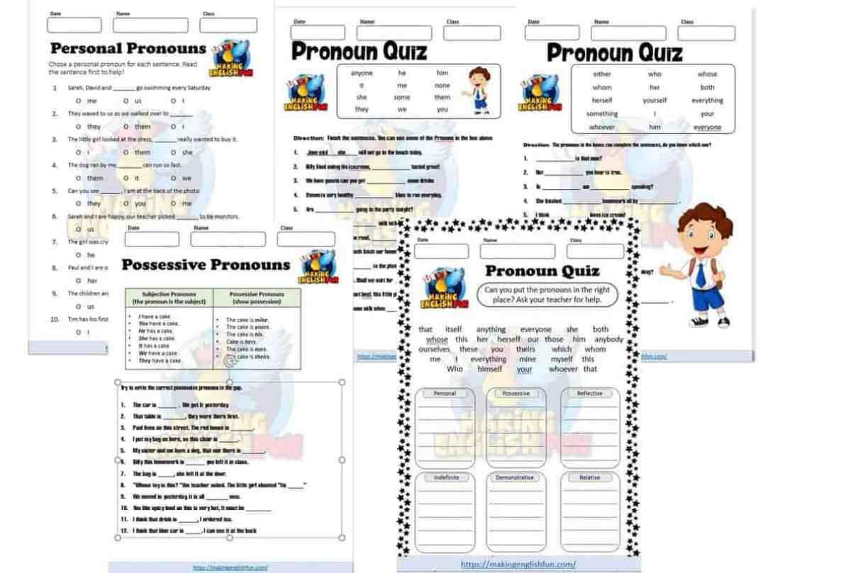 Free Pronouns worksheets