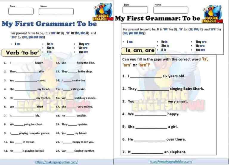 """Verb """"to be"""" Worksheets for Kindergarten"""