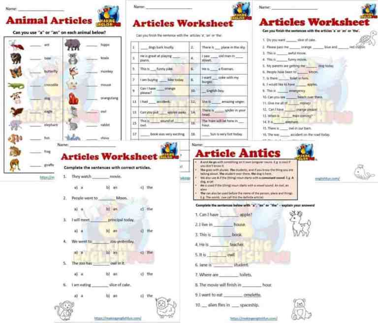 Articles  Worksheets (A, An, and The)