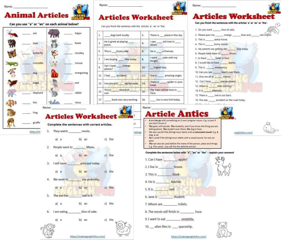 A an The worksheets
