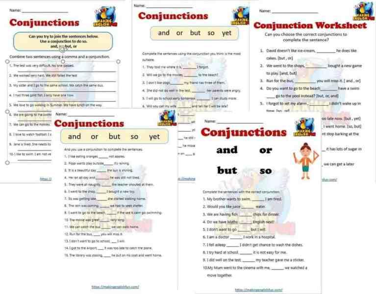 FREE Conjunctions Worksheets