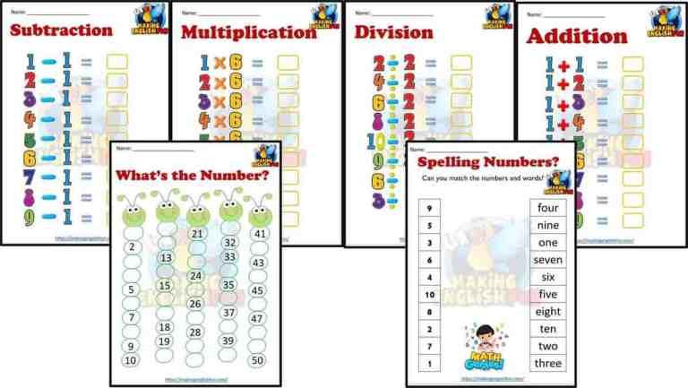 Kindergarten Math Worksheets – Set 1