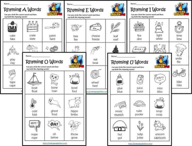 Long Vowel Rhyming Worksheets