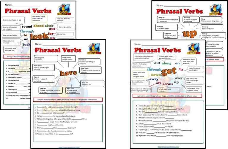 Phrasal Verb Worksheets – Set Two.