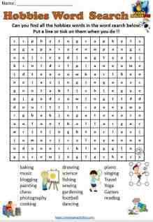 Hobbies Word Search Worksheet