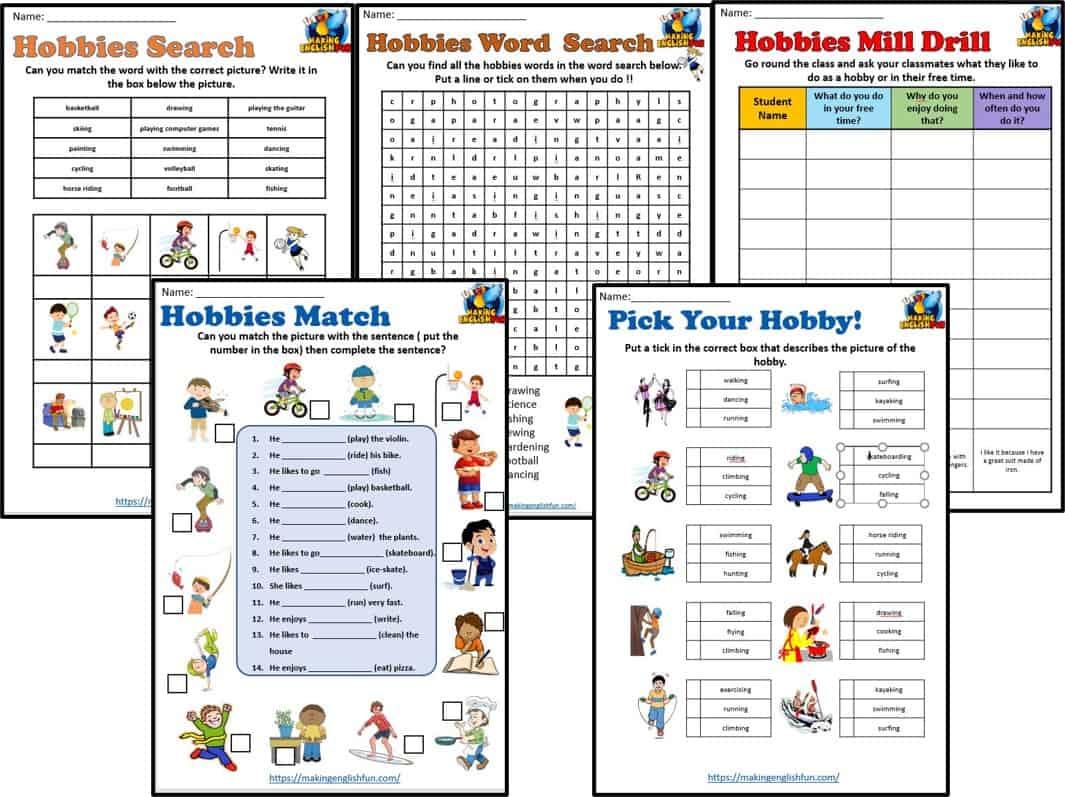 Hobbies Worksheets set of 5