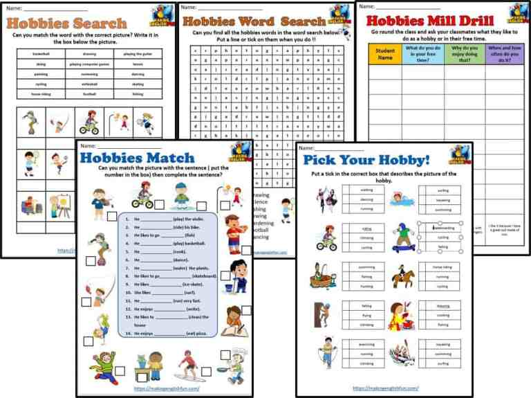 Hobbies Worksheets for Classrooms and ESL.