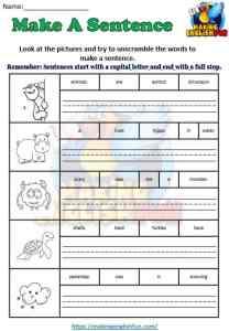 Make a Sentence worksheet  Color 3