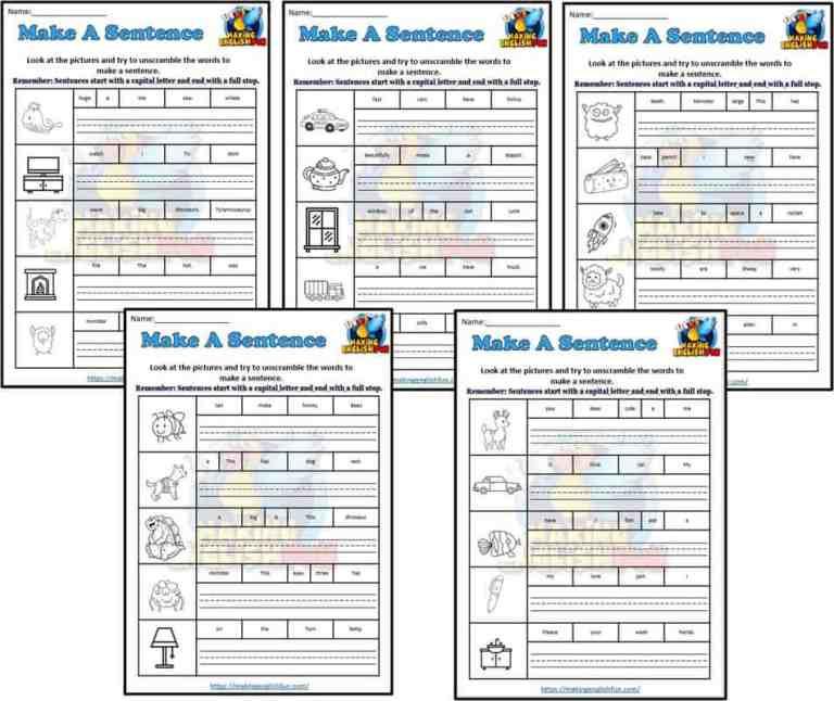 Make A Sentence Worksheets and Coloring: Set 3