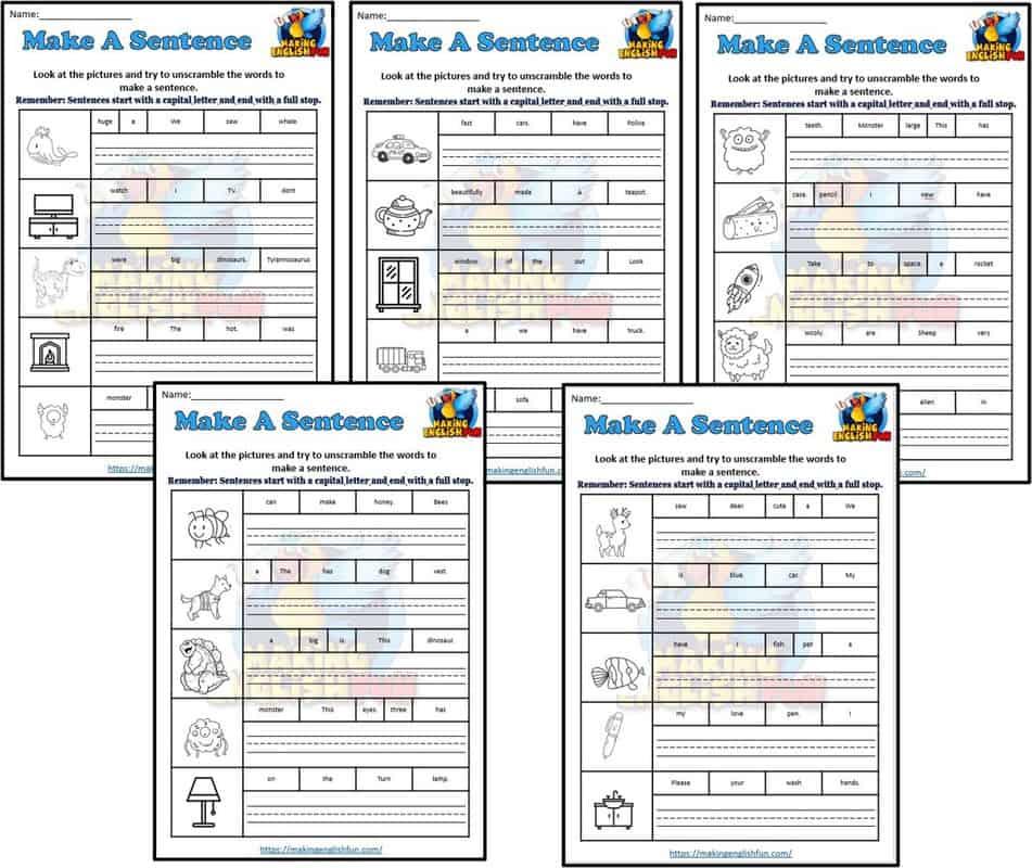Make a sentence Worksheets set 3