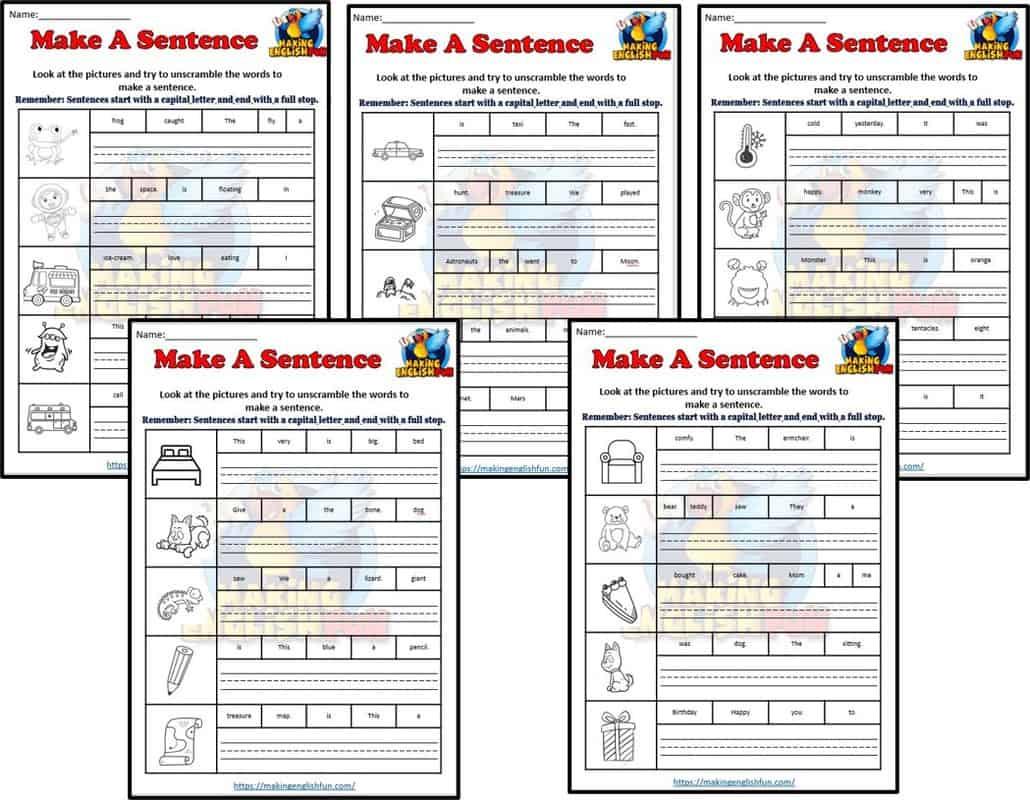 Make a sentence Worksheets