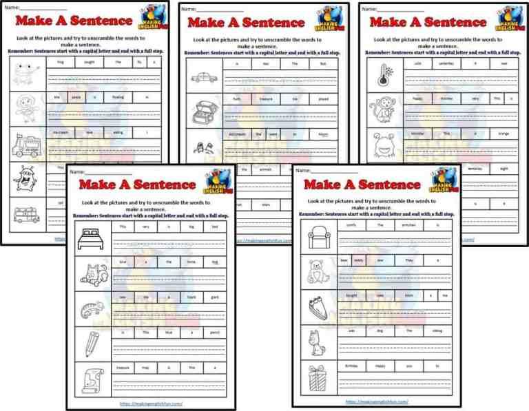 Make A Sentence Worksheets Coloring: Set 1