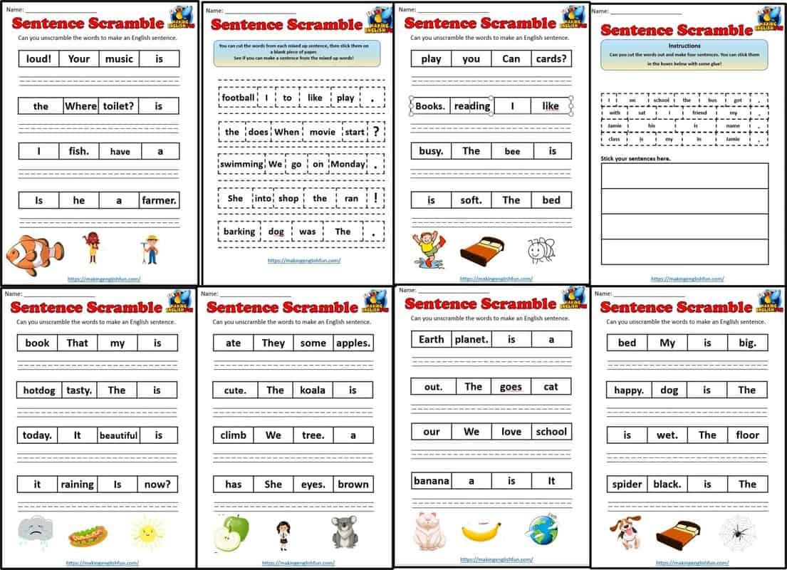 sentence scramble worksheets