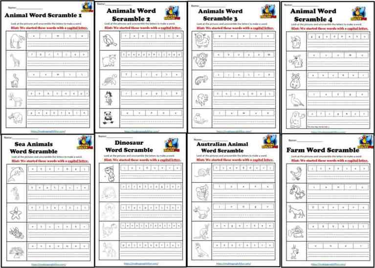 Animals Word Scramble Worksheets: