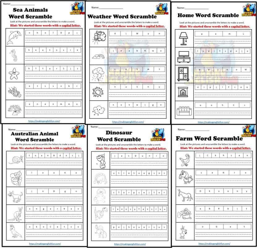 ESL Word Scramble Worksheets