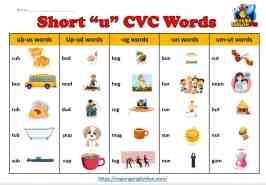 CVC Word List Short u