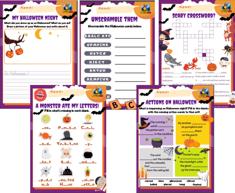 FREE Grade 1 to 3 Halloween Worksheets -Set of Five