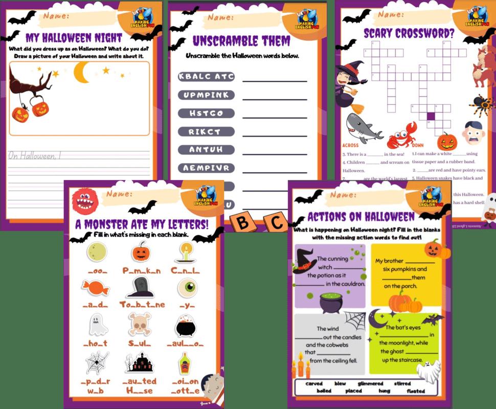 Halloween grade 1 Worksheets