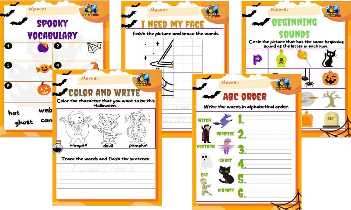 FREE Kindergarten Halloween Worksheets