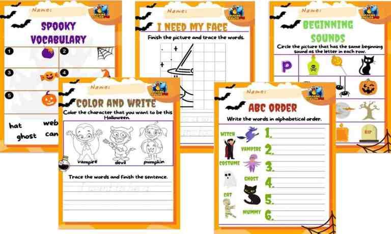 FREE Kindergarten Halloween Worksheets -Set of Five