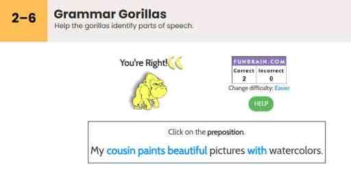 grammar gorillas parts of speech