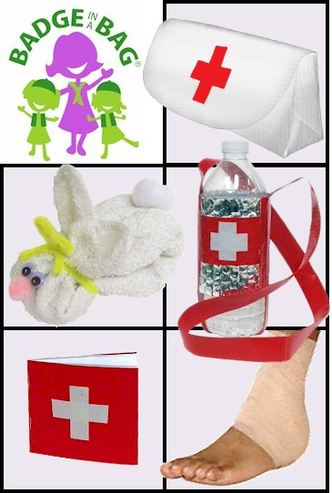 """Advanced First Aid Badge in a Bag® -- Single. Already did first aid as Brownie or Junior? This kit takes it up a notch. They will get to make their own first aid pouch out of duct tape as well as make a first aid booklet and a """"boo-boo bunny"""" to use when baby sitting. Fun and learning in our kit,Advanced First Aid Badge in a Bag® -- Single from MakingFriends®.com for one girl to complete the five requirements for the Cadette First Aid badge. #makingfriends #scoutingfromhome #cadettegirlscouts via @gsleader411"""